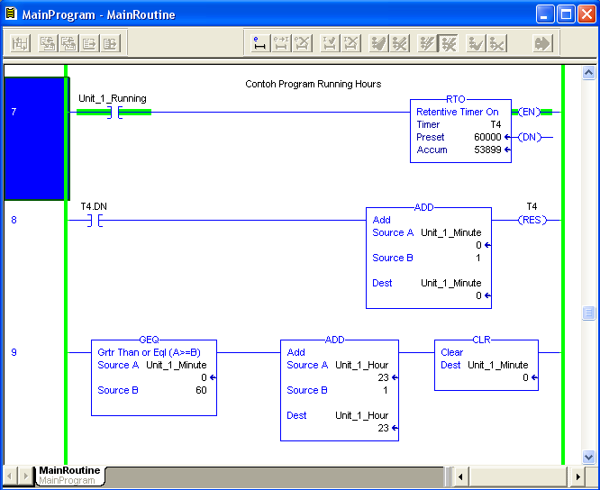 Belajar Wiring Diagram Plc : Belajar plc ladder diagram program running hours