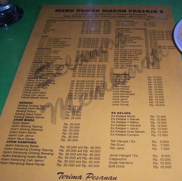 alamat dan daftar harga Rumah Makan Prasaja 2