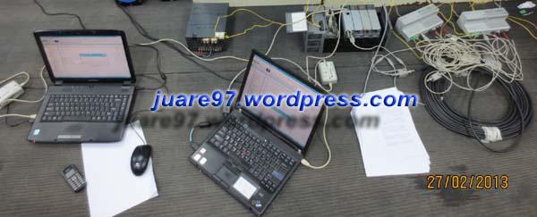 Simulasi dengan 2 Laptop yang masing-masing terhubung ke SLC