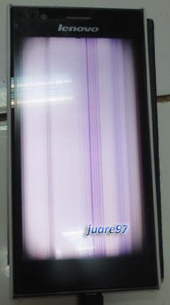 Layar Lenovo K900 yang rusak